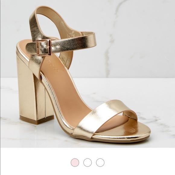 BAMBOO Shoes - Metallic gold chunky heels